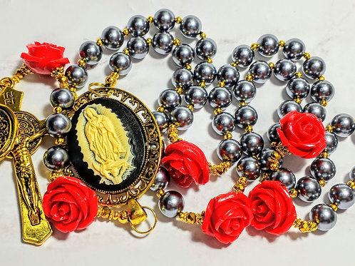 Beautiful Vatican Style Tahitian Grey Pearl Red Rose Guadeloupe Benedict Rosary