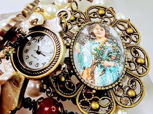 CHRISTMAS ROSARY Beautiful Cream Pearl Candy Cane Red Jade Cameo Clock Rosary