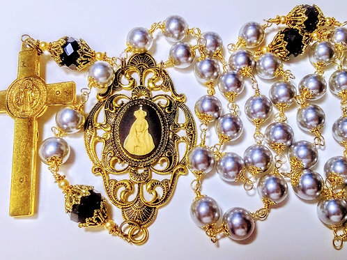 Vatican Style Tahitian Lt. Gray Pearl Black Crystal Queen Fatima Benedict Rosary