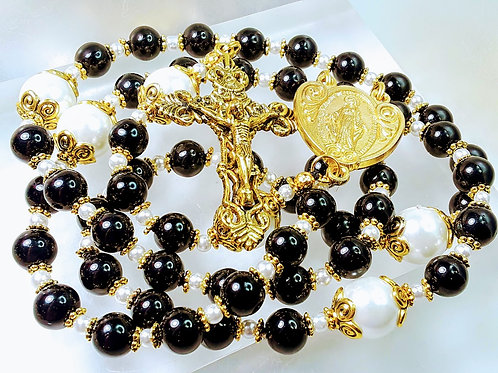 Beautiful Black Onyx Bead White Pearl Rosary Heart Miraculous Medal Centerpiece
