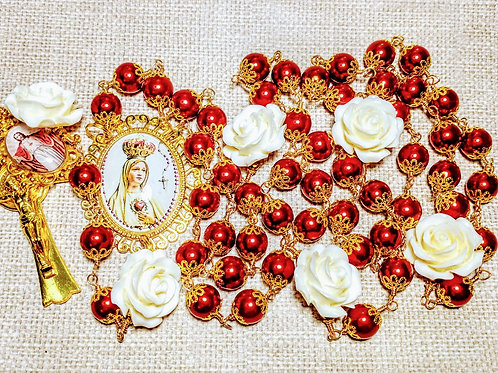 Vatican Style Red Pearl White Rose Queen Fatima Mary Cameo Gold Charm Rosary