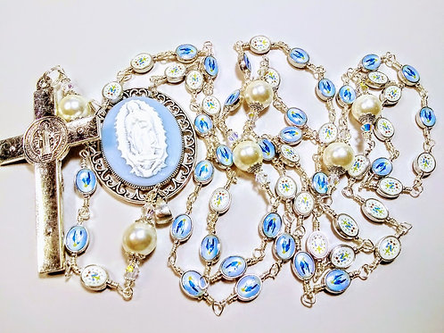 Vatican Style Lt. Blue Guadeloupe Cameo Miraculous Medal Bead Rosary Swarovski