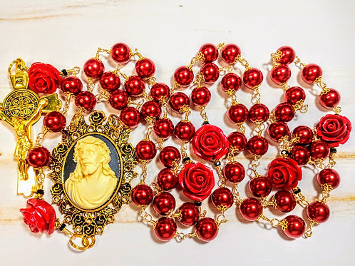Beautiful Vatican Style Ruby Red Pearl Jesus Cameo Benedict Catholic Rosary