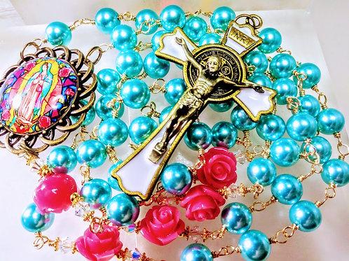 Beautiful Aqua Blue Pearl Bead Mary Cameo Pink Rose St. Benedict Catholic Rosary