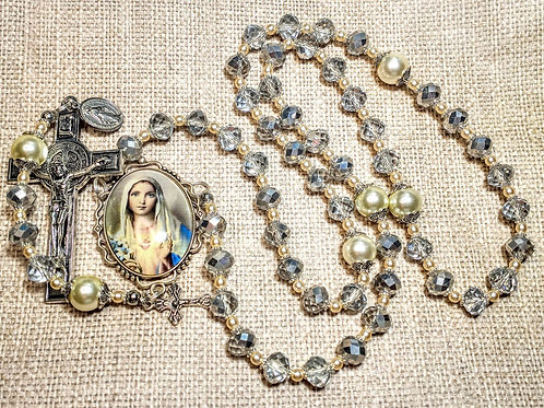Vatican Style Diamond Silver Crystal Pearl Mary Cameo Benedict Charm Rosary
