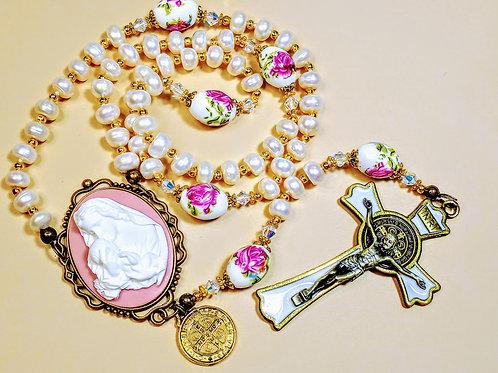 Beautiful Cream Freshwater Pearl Rose Ceramic Bead Benedict Rosary Swarovski