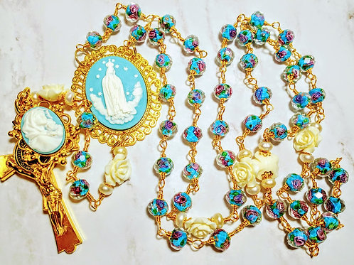 Vatican Style Baby Blue Fatima Mary Cameo Lavender White Rose Benedict Rosary
