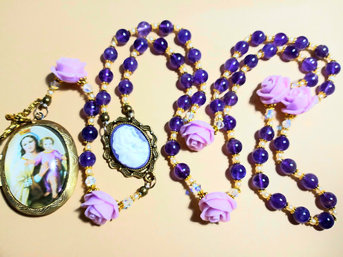 Beautiful Vatican Style Purple Amethyst Lavender Rose Mary Cameo Rosary Swarovsk