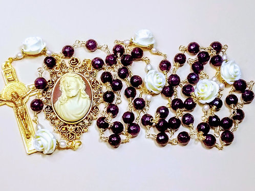 Vatican Style Beautiful Natural Deep Red Genuine Garnet Cream Rose Benedict Rosa