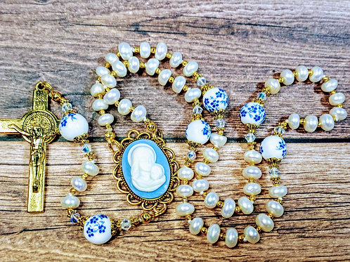 Antiqued White Pearl Ceramic Blue Flower Virgin Mary Catholic Rosary Swarovski