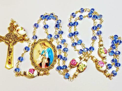 Beautiful  Blue Crystal Rose Ceramic Bead Mary Cameo Catholic Rosary