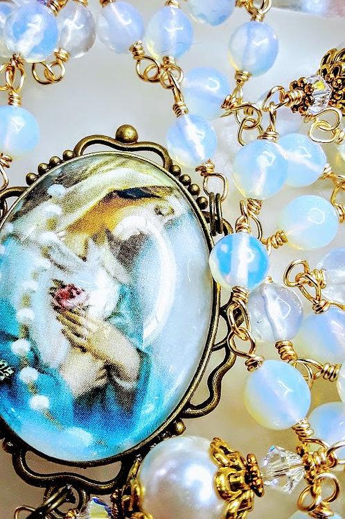 Beautiful Vatican Style Opalite Bead Cream Pearl St Benedict Rosary Swarovski