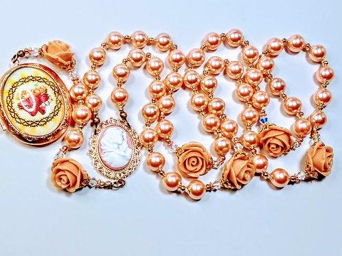 Vatican Style Champagne Pink Pearls Sacred Heart Rose Locket Rosary Swarovski