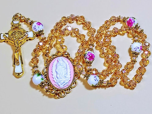 Beautiful Champagne Topaz Crystal Pink Guadeloupe Mary Cameo Rose Ceramic Rosary