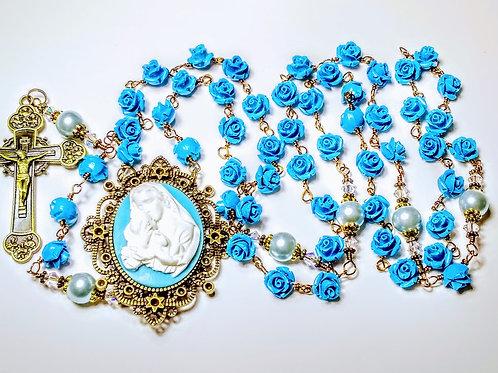 Vatican Style Blue Valley Roses Mary Child Cameo Catholic Rosary Swarovski Bead