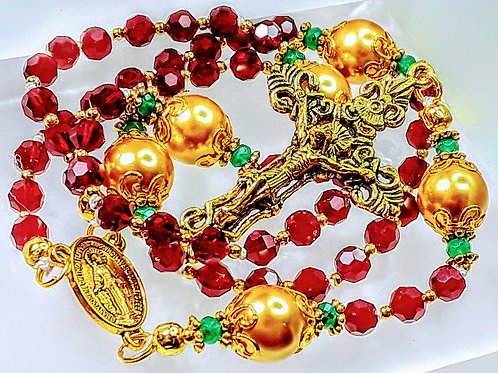 Beautiful Merry Christmas Garnet Red Crystal Catholic Rosary Real Swarovski Bead