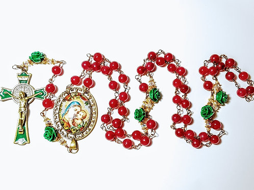 Beautiful Genuine Ruby Bead Green Rose Christmas Cameo Benedict Rosary Swarovski
