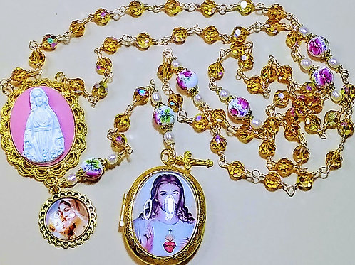 Vatican Style Topaz Gold Champagne Crystal Pink Rose Ceramic Cameo Locket Rosary