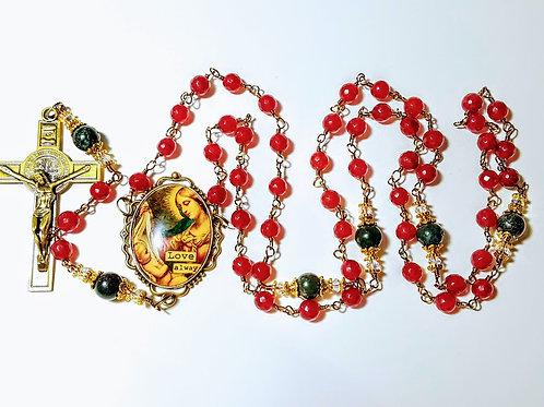 Genuine Brazilian Red Ruby Christmas Mary Child Cameo Benedict Rosary Swarovski