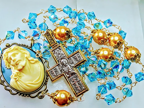 Beautiful Lt Sapphire Blue Crystal Cameo Rosary All Swarovski Crystal Bead