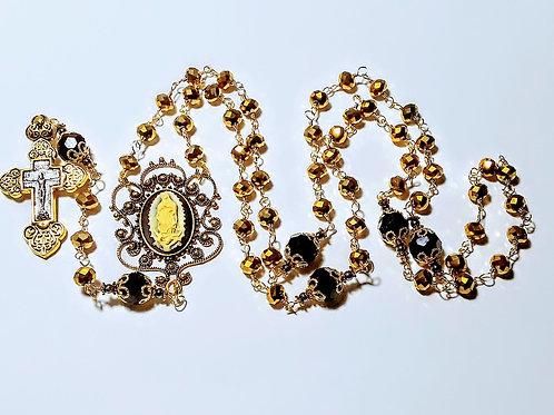 Beautiful Vatican Style Reflective Gold Crystal Mary Guadeloupe Catholic Rosary