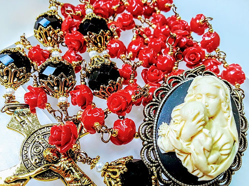 Vatican Style Antiqued Red Roses Black Crystal Cameo St. Benedict  Rosary