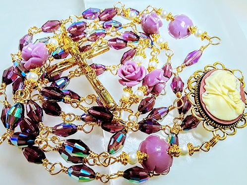 Beautiful Antiqued Amethyst Crystal Lavender Roses Cream Pearl Rosary Swarovski