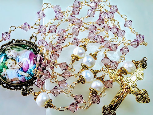 Beautiful Lavender Crystal Cream Freshwater Pearl Mary Child Cameo SWAROVSKI