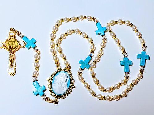 Beautiful Freshwater Pearl Turquoise Cross Mary Cameo Benedict Rosary Swarovski