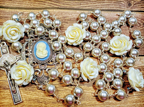 Vatican Style Tahitian Grey Silver Pearl Cream Rose Mary Cameo Benedict Rosary