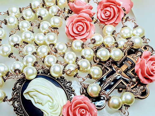 Vatican Style Rose Gold Cream Pearl Pink Roses Mary Cameo Catholic Rosary Beads