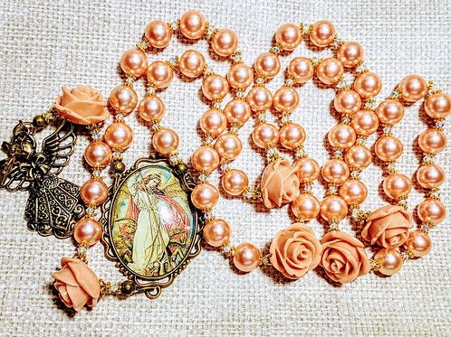 Vatican Style St. Michael Angel Cameo Champagne Peach Pearl Rosary Swarovski