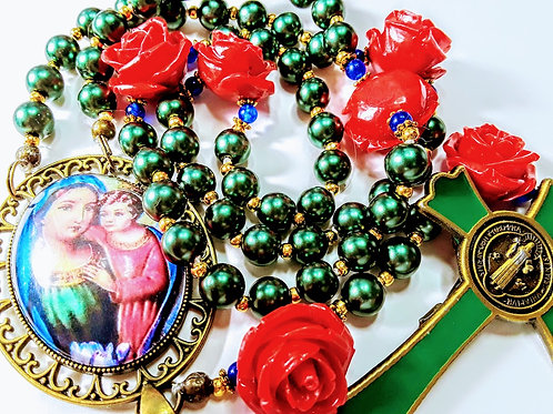 Beautiful Merry Christmas Ever Green Pearl Red Rose Mary Cameo Benedict Rosary