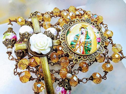 Beautiful Champagne Crystal Bead Virgin Mary Cameo Rose Cross Catholic Rosary
