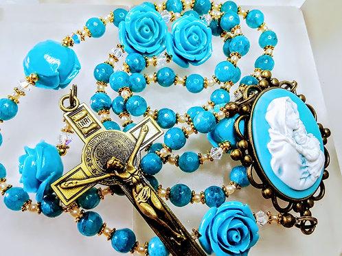 Beautiful Vatican Style Blue Aquamarine Bead Roses Benedict Rosary Swarovski