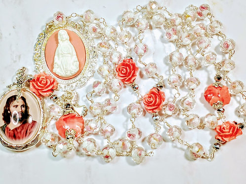 Vatican Style Pink Rose Lamp work Diamond Crystal Cream Roses Mary Cameo Rosary
