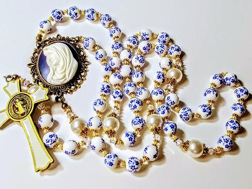 Beautiful Blue Flower Ceramic Bead Cream Pearl Mary Cameo St. Benedict Rosary Sw