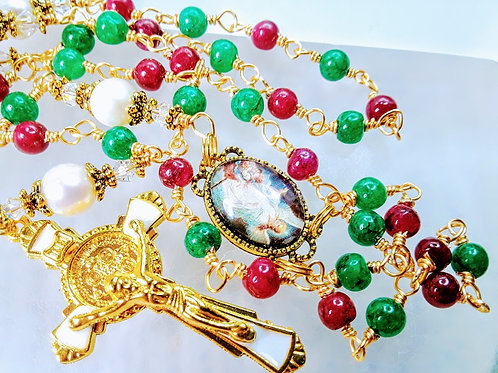 CHRISTMAS ROSARY Emerald Ruby Pearl Bead St Benedict Rosary Necklace SWAROVSKI