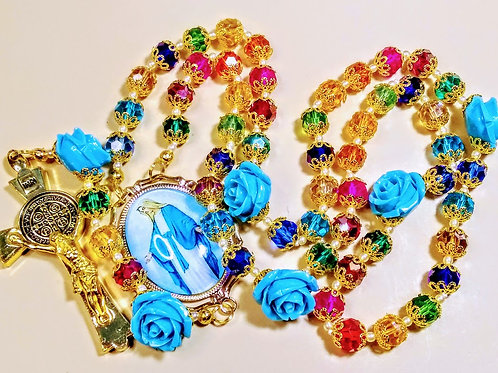Beautiful Vatican Style Multi Color Crystal Blue Roses St. Benedict Pearl Rosary