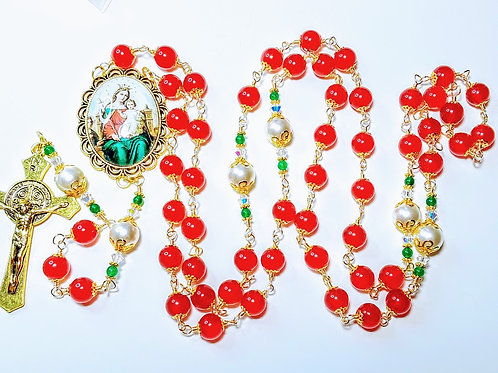 Beautiful Merry Christmas Candy Cane Red Jade Bead Mary Cameo Rosary Swarovski
