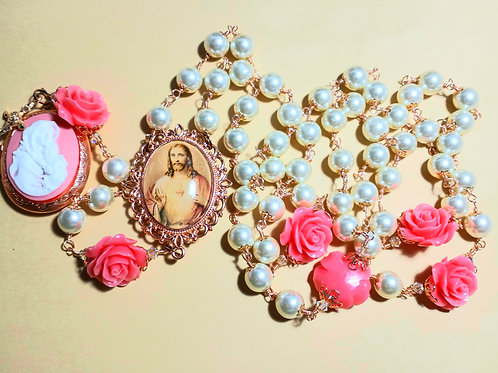 Vatican Style Cream Pearl Double Sided Cameo Locket Rosary