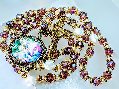 Beautiful Vatican Style AB Amethyst Crystal White Roses Mary Child Cameo Rosary