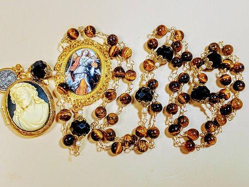 Vatican style tiger eye black crystal St.Micheal Jesus  locket rosary