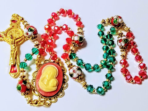 Beautiful Red Green Crystal Cloisonné Benedict Christmas Rosary