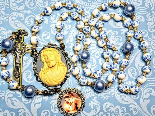 Beautiful Vatican Style Blue Flower Ceramic Bead Jesus Cameo Charm Pearl Rosary