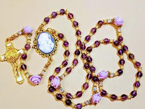 Beautiful Purple Amethyst Lavender Roses Mary Cameo Benedict Rosary Swarovswki