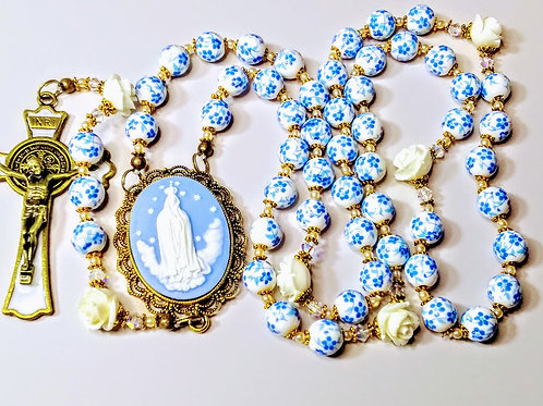 Beautiful Vatican Style Baby Blue Flower Ceramic Bead Roses Rosary Swarovski