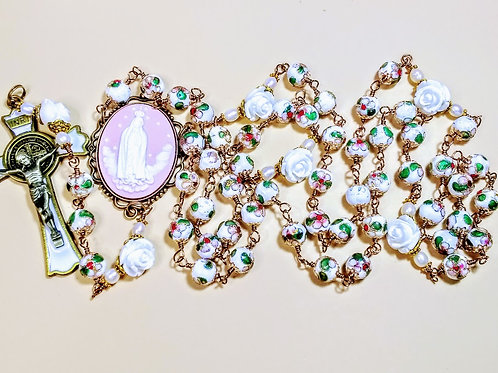 Beautiful Pink White Flower Cloisonné Bead Roses Freshwater Pearl Saint Rosary