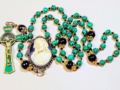 Beautiful Vatican Style Emerald Green Malachite Bead & Onyx Rosary