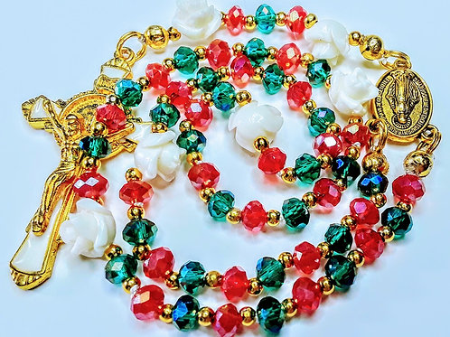 Beautiful Merry Christmas Emerald Green & Red Crystal Miraculous Medal Rosary